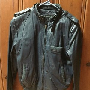 Blue leather vintage members only jacket